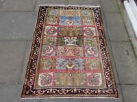 Vintage Hand Made Traditional Oriental Wool Red Blue Small Rug 143x104cm