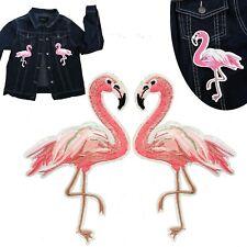 Flamingo Iron on patch set of 2 flamingos tropical pink bird iron-on patches