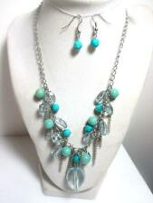 """18""""  Necklace & 1"""" Drop Earring Set Silver Tone Chain Blue Green Cluster Fringe"""