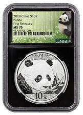2018 China 30 g Silver Panda ¥10 NGC MS70 FR Black Core Panda SKU50537