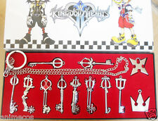 12pcs/Set Kingdom Hearts II KEY BLADE Necklace Pendant+Keyblade+Keychain in box