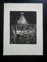 Rare belle gravure boxe XXème ring avec boxeurs match boxe