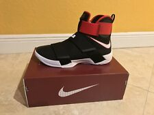 Men's NIKE LEBRON Soldier 10 X BASKETBALL Shoes Size 9.5 Black / Red 844374 016