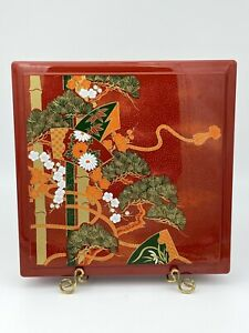 Vintage Japan Lacquer Box Bento Vessel Red Black Gold Large
