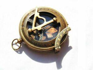 Nautical Antique Brass Marine Stanley London Vintage Pocket Sundial Compass
