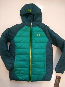 Under Armour Boys Size Youth Medium Green Hooded Winter Puffer Coat