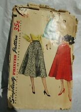"""Vintage 50s/60s sewing pattern Simplicity 4083 skirt waist 28"""""""