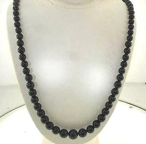 """6-12MM GRADUATED ONE-STRAND ROUND GENUINE BLACK CORAL SILVER PLATED NECKLACE 24"""""""