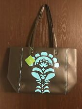 Vera Bradley Flower Shower Laser Cut Brown and Teal Tote -  NWT
