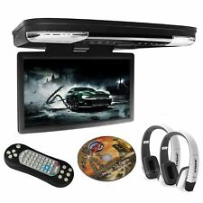"15.6"" Car Overhead Flip Down Monitor DVD Player Roof Mount Monitor IR Headphones"