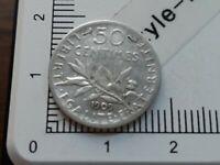 H13307 50 centimes de franc semeuse 1909 pièce de monnaie argent
