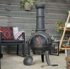 🔥La Hacienda Cuba Cast Iron & Steel Chiminea Log Burner Heater✅Fast Delivery✅
