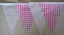 Pink & White Gingham Fabric Bunting Party Bedroom Decoration 2mt or more