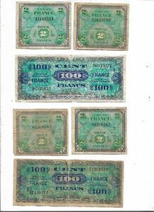"""FRANCE  Lot de 6 Billets """"FRANCS SERIE 1944 FRANCE"""" usés , utilisés ....."""
