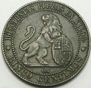 SPAIN 5 Centimos 1870 OM - Bronze - Isabel II - VF+ - 1226 ¤