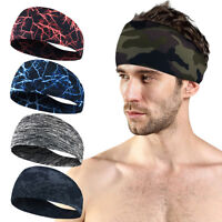 Unisex Women Men Sports Yoga Sweatband Gym Stretch Headband Hair Band UK DD