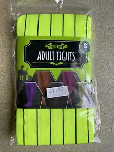 Adult Fright Nite Neon Yellow Pinstripe Opaque Tights Size Small