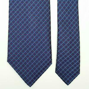 BRIONI TIE Red Dot on Blue Check Classic Woven Silk Necktie