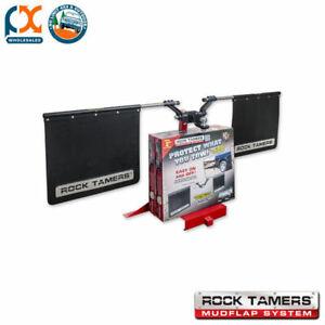 "Rock Tamers 2"" Hub Mudflap System Matt Black/Stainless Steel Trim Plates 00108"