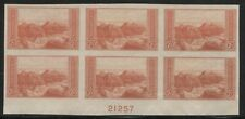US #757 VF MNH IMPERF FARLEY PLATE #21257 BLOCK OF 6 WITH NO GUM AS ISSUED