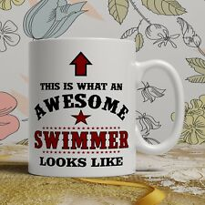 Awesome swimmer birthday gift mug for him her funny swimming novelty present cup