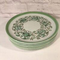 1960's Mission Verde Poppytrail Set 6  Dinner Plates Avacado Green Floral Vines