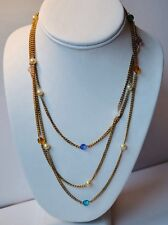 Orig. Vintage opaque gold tone chain w/ multiple color beads. Awesome piece