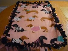 Handmade Plush fleece tie blanket of dachshunds in sweaters for a small pet