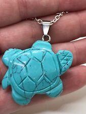 "Turtle Turquoise Howlite Gem Tibetan Silver 18"" Necklace D-990"