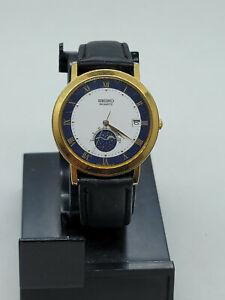 Rare Vintage Seiko Quartz Moon Phase Watch w/ Date 6F22-8029 RUNNING