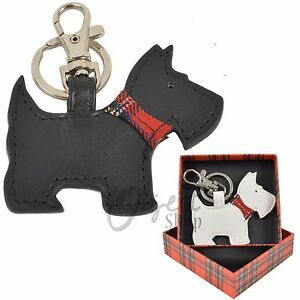 Mala Leather Scotty Dog Key Ring Tag Bag Fob Clip Cute Gift Box Black White