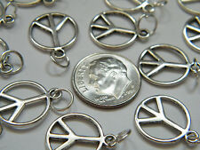 40 Pieces PEACE Charms Tibet Silver DIY Necklace Earrings w/ Rings Lot of 40 NEW