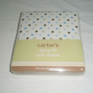 """NWT Carter's Baby Easy-fit Crib Sheet Brown Green Blue Dots 100% Cotton 28""""x52"""""""