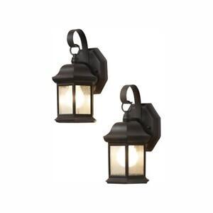 Hampton Bay Wall Lantern Sconce Seeded Glass 1-Light Bronze Outdoor (2-Pack)