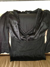 Anthropology Vertigo Black silk blouse top s