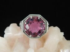 7.77 Ct. Round Synthetic Alexandrite Ring Sterling Silver 1920's Style Filigree