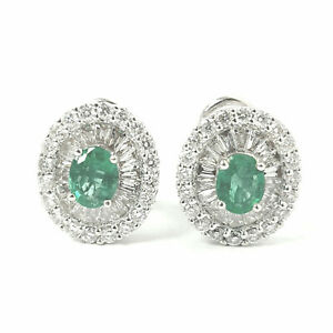 Diamond Emerald Stud Earrings Oval Cut Baguette Round Green 18ct White Gold