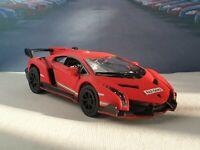PERSONALISED LAMBORGHINI VENENO - RED 1.36 DIECAST MODEL CAR BIRTHDAY GIFT NEW
