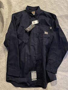 Carhartt FR Flame Resistant Twill Work Long Sleeve Shirt Men XLarge Tall Blue