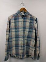 Mens H&M Beige Blue Check Long Sleeve Casual Shirt Size Small Regular #2F1