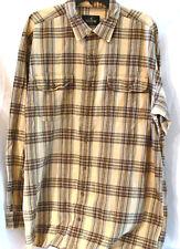 RedHead Tall Mens Plaid Shirt Sz XLT Long Sleeve Yellow Brown Button Front