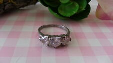Beautiful  Three White Hearts CZs Sparkles Ring 925 Sterling Silver *Size 9*B964