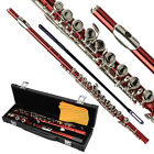 New Standard Red School Band Student 16 Closed C Flute with Case&Accessories