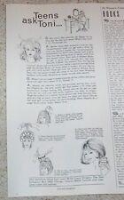 1966 print ad -Toni hair care advice column Teens Ask perm Dippity-Do Vintage AD