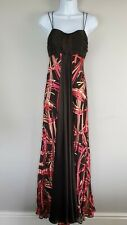 MONSOON Maxi Dress Size 10 Brown Silk Devore Pink Long Gown Wedding Occasion