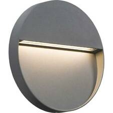 Knightsbridge Mains Pathway 230V IP44 5W LED Round Wall Guide Light Grey Patio