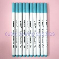 10 Pack Blue Water Erasable Disappearing Pen For Fabric Garment Marking