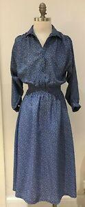 Mid 1970s Blue Patterned Vintage Dress  Size 10/12 UK, Made in England