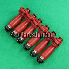 6 FUEL INJECTORS FITS MITSUBISHI PAJERO NM 6G74 3.5L V6 00-04 RED INJECTOR DENSO