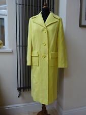 Stunning True Vintage Lemon Yellow Wool Coat Long Jacket - Size 10/12